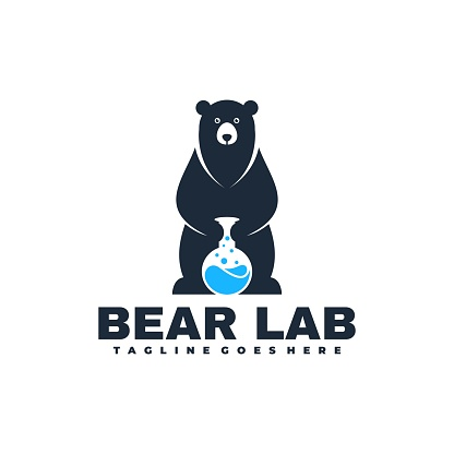 Vector Illustration Bear Lab Negative space Style.