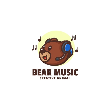 Vector Illustration Bear Music Mascot Cartoon Style.
