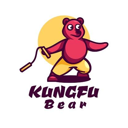 Vector Illustration Bear Simple Mascot Style.