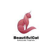 Vector Illustration Beautiful Cat Gradient Colorful Style.
