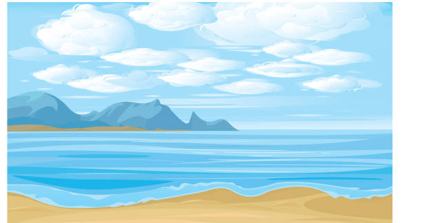Vector illustration. Beautiful landscape sea and clouds sky. Landscape is my creative drawing and you can use it for your design, made in vector, Adobe Illustrator 8 EPS file. coastal feature stock illustrations