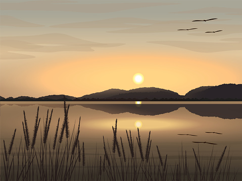 Vector illustration Beautiful natural landscape image of lake, mountains, evening sky The sun is setting, grass and birds flying.