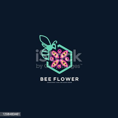 Vector Illustration Bee With Flower Line Art Style.
