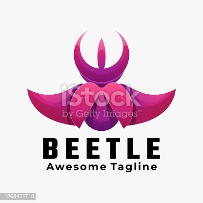 Vector Illustration Beetle Gradient Colorful Style.