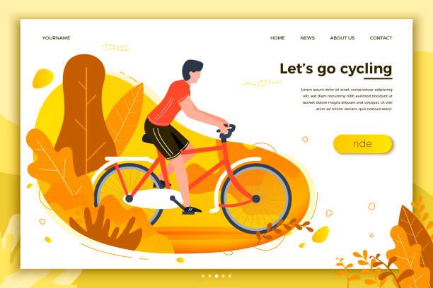 bildbanksillustrationer, clip art samt tecknat material och ikoner med vektorillustration - cykel rider man i parken - aktiva pensionärer utflykt