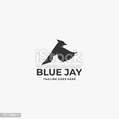 Vector Illustration Bird Blue Jay Silhouette Style.