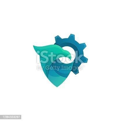 istock Vector Illustration Bird Gear Gradient Colorful Style. 1284333261