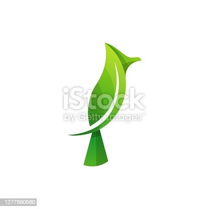 istock Vector Illustration Bird Leaf Gradient Colorful Style. 1277690580
