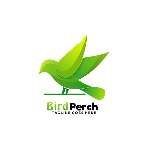 Vector Illustration Bird Perch Gradient Colorful Style. Vector Illustration Bird Perch Gradient Colorful Style. perching stock illustrations