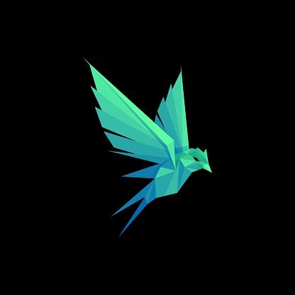Vector Illustration Bird Pow Gradient Colorful Style.
