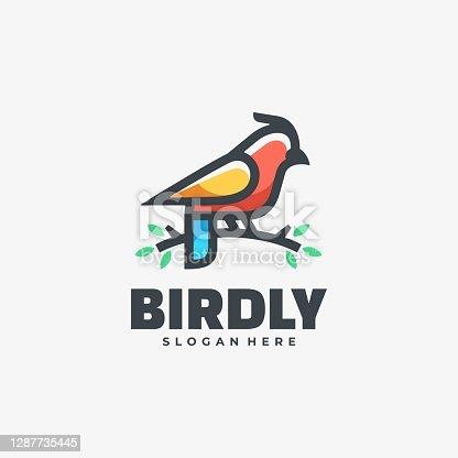 istock Vector Illustration Bird Simple Mascot Style. 1287735445