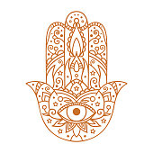 Vector illustration. Hamsa on a white background.
