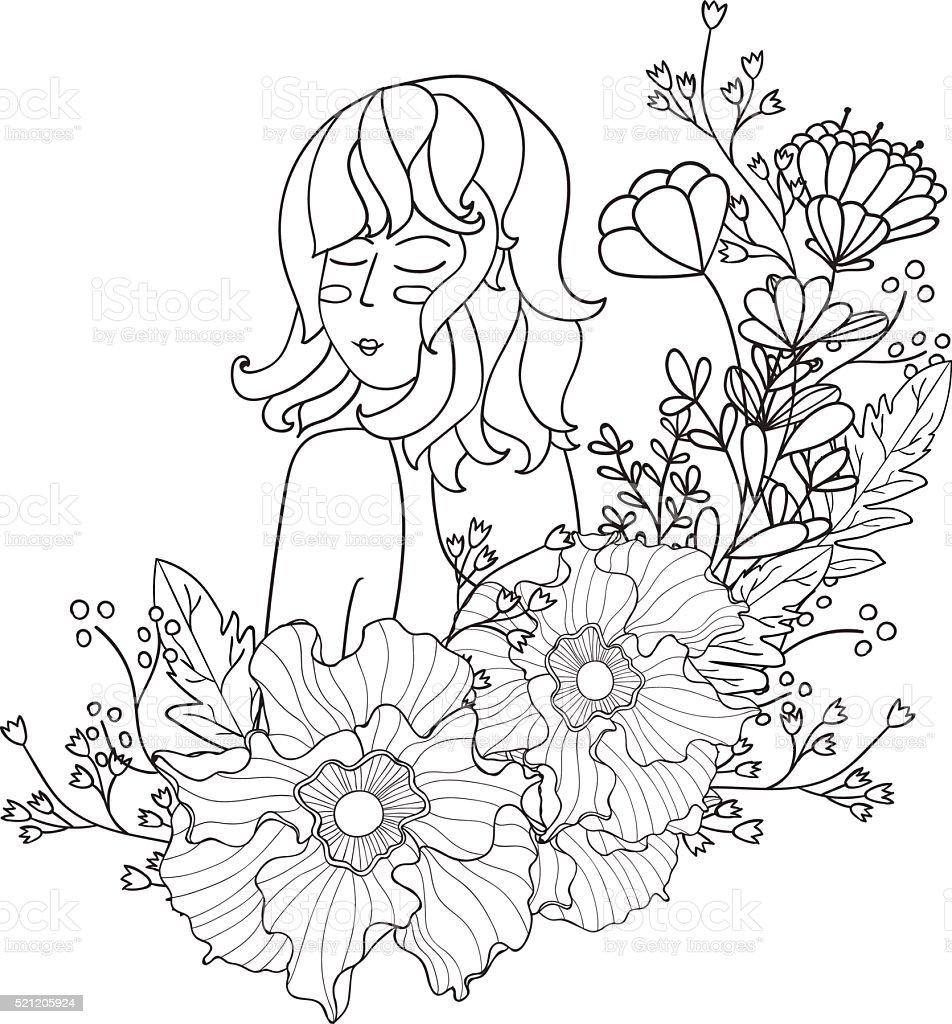 Ilustracion De Ilustracion De Vectores Blanco Y Negro Mujer Para