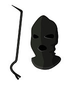 Vector illustration of black mask thief or burglar with tool tire iron isolated on white background. Design element for equipment for criminal crime, assault, theft, robbery, outlaw persons concept