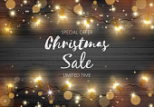 Vector Illustration Black Rustic Wooden Board with Golden Color Christmas Lights and Space For Your Text.