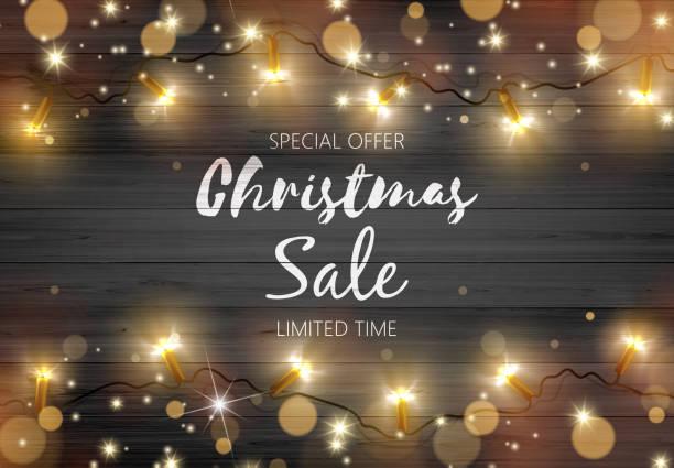 vektor-illustration schwarze rustikalen holzbrett mit goldener farbe weihnachtsbeleuchtung und platz für ihren text. - weihnachtsmarkt stock-grafiken, -clipart, -cartoons und -symbole