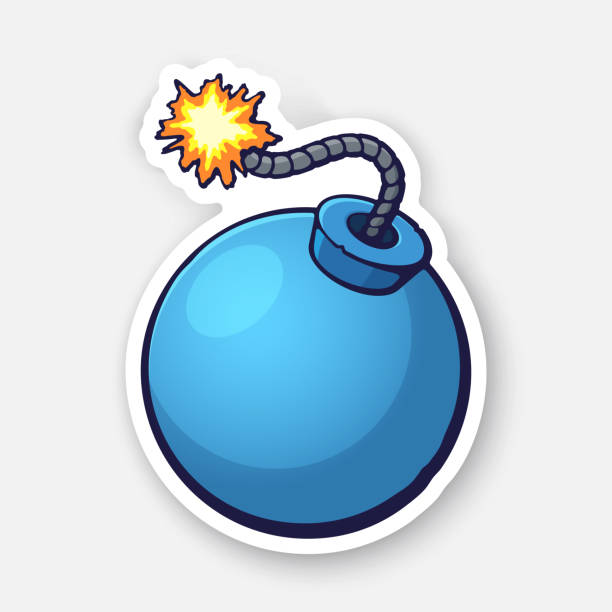 Vector illustration. Blue ball-shaped bomb with a burning fuse rope. Sticker with contour. Isolated on white background Vector illustration. Blue ball-shaped bomb with a burning fuse rope. Sticker with contour. Isolated on white background explosive fuse stock illustrations