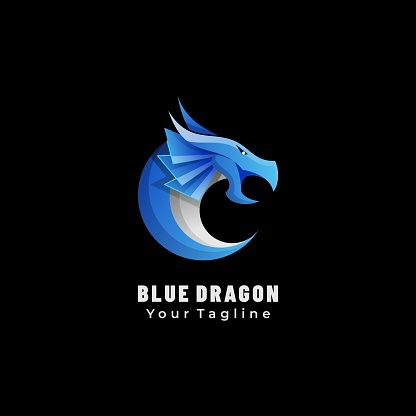 Vector Illustration Blue Dragon Gradient Colorful Style.