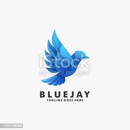 istock Vector Illustration Blue Jay Gradient Colorful Style. 1225749083
