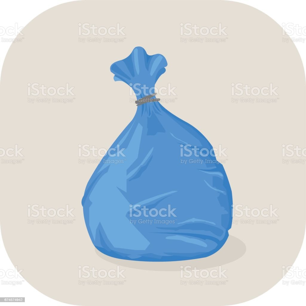 Vector illustration Blue plastic garbage big icon. vector art illustration