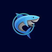 Vector Illustration Blue Shark Gradient Colorful Style.