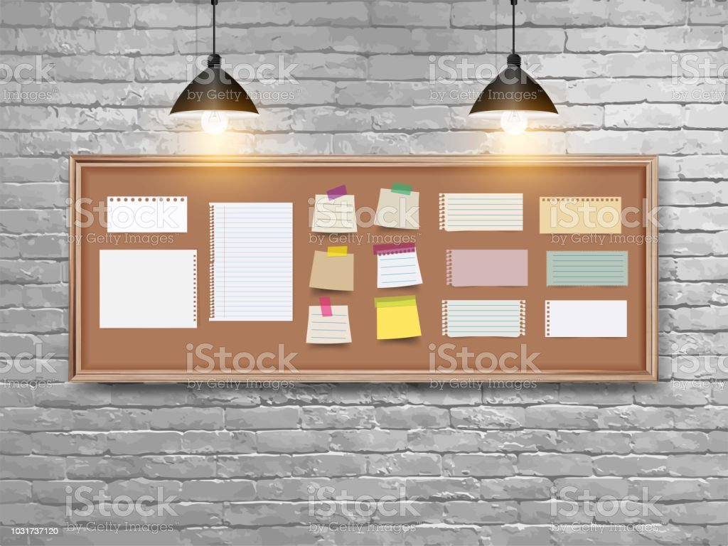 Vector Illustration Board With Wood Frame Different Note