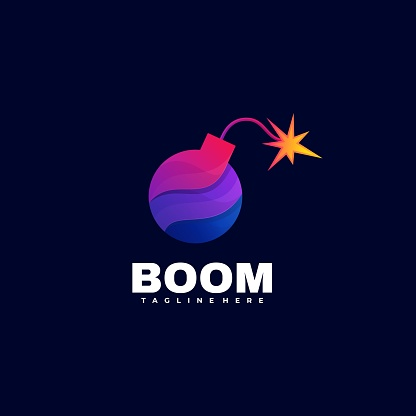 Vector Illustration Boom Gradient Colorful Style.