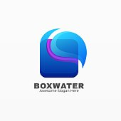 Vector Illustration Box Water Gradient Colorful Style.