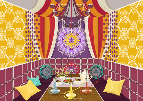 vector illustration. Bright multicolor room with sofa with pillows, decorated patterns and ornaments, table with hookah