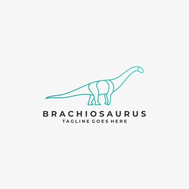 Vector Illustration Brontosaurus Line Art Style. Vector Illustration Brontosaurus Line Art Style. reptiles stock illustrations