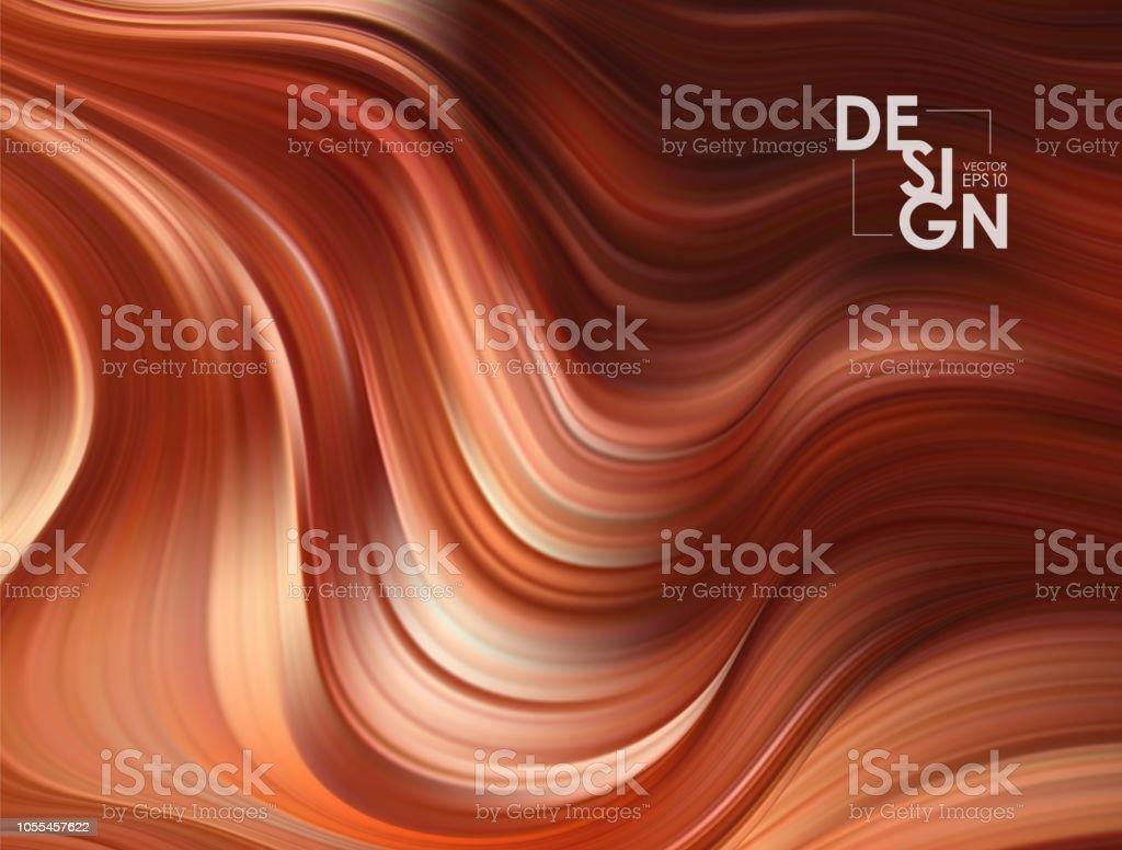 Vector illustration: Brown flow background. Wave chocolate Liquid shape color backdrop. Trendy Art design royalty-free vector illustration brown flow background wave chocolate liquid shape color backdrop trendy art design stock illustration - download image now