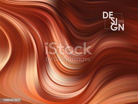Vector illustration: Brown flow background. Wave chocolate Liquid shape color backdrop. Trendy Art design.