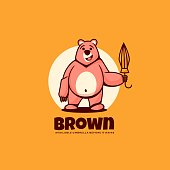 Vector Illustration Brown Simple Mascot Style.