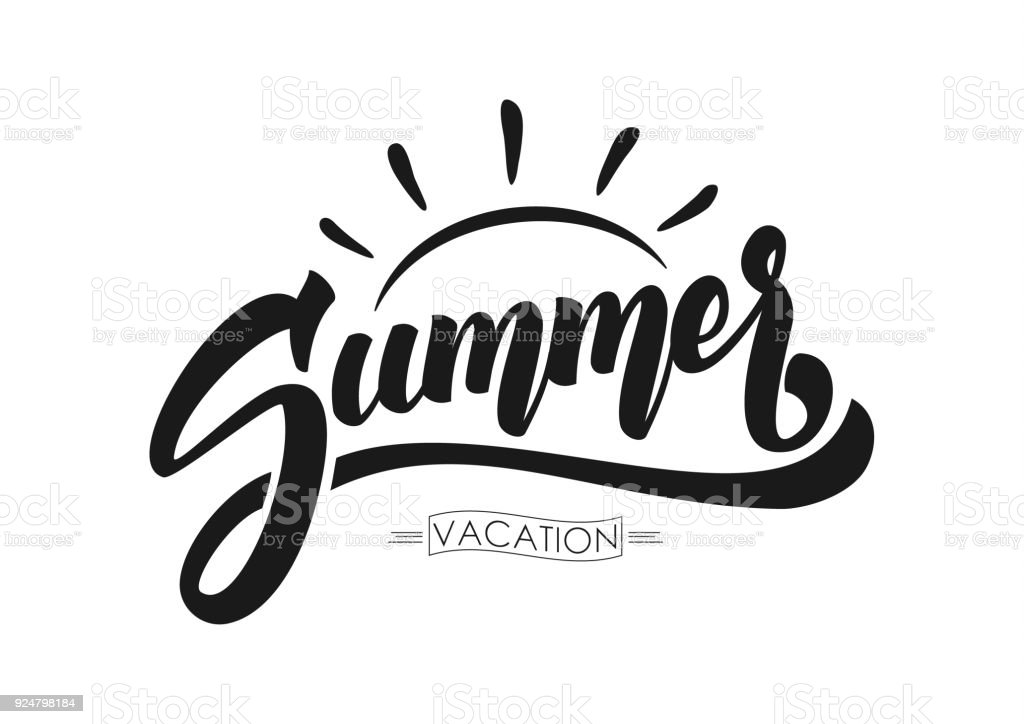 Vector illustration: Brush lettering composition of Summer Vacation isolated on white background vector art illustration