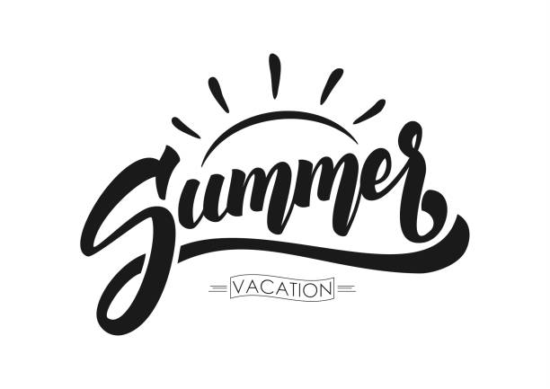 Vector illustration: Brush lettering composition of Summer Vacation isolated on white background Vector illustration: Brush lettering composition of Summer Vacation isolated on white background. summer stock illustrations