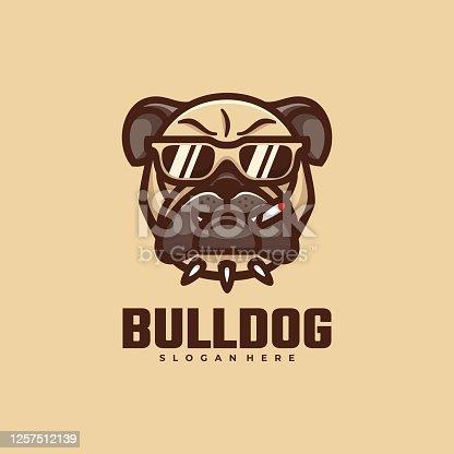 istock Vector Illustration Bull Dog Simple Mascot Style. 1257512139