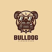 Vector Illustration Bull Dog Simple Mascot Style.