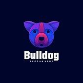 Vector Illustration Bulldog Gradient Colorful Style.