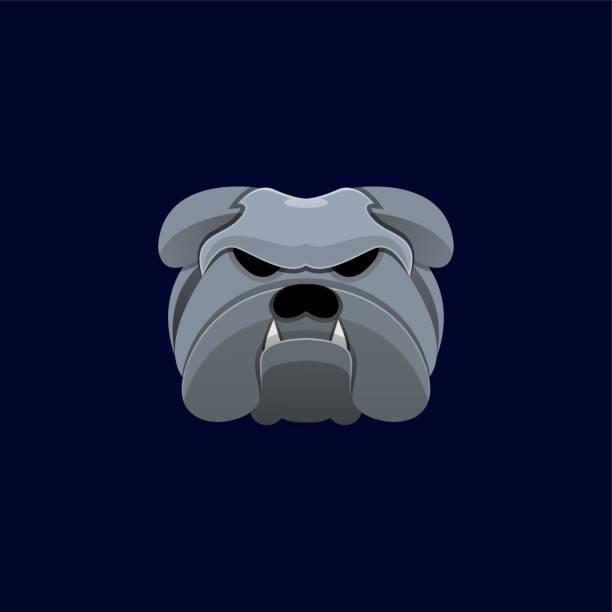 bildbanksillustrationer, clip art samt tecknat material och ikoner med vektor illustration bulldog head färgglad stil. - hunddjur