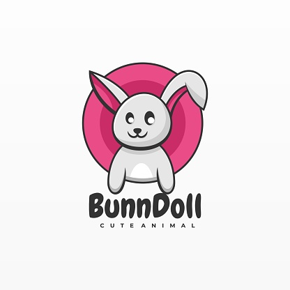 Vector Illustration Bun doll Simple Mascot Style.