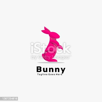 istock Vector Illustration Bunny Gradient Colorful Style. 1267254816