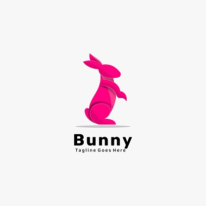 Vector Illustration Bunny Gradient Colorful Style.