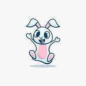 istock Vector Illustration Bunny Simple Mascot Style. 1256052708