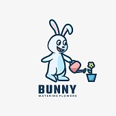istock Vector Illustration Bunny Simple Mascot Style. 1261049357