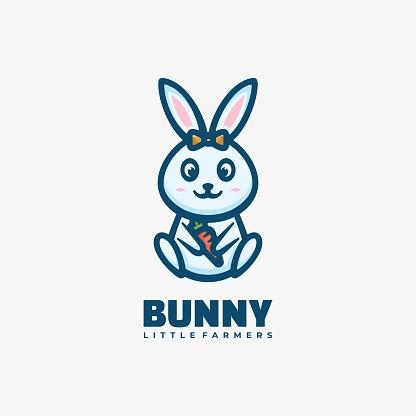 Vector Illustration Bunny Simple Mascot Style.