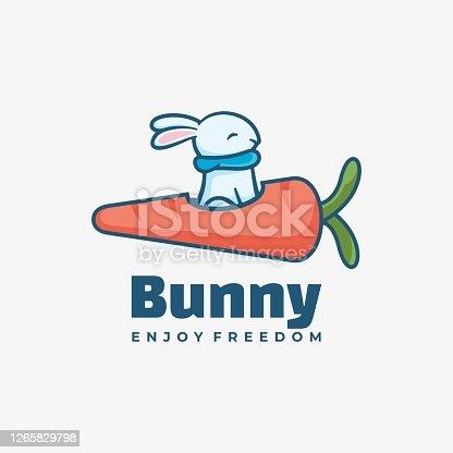 istock Vector Illustration Bunny Simple Mascot Style. 1265829798