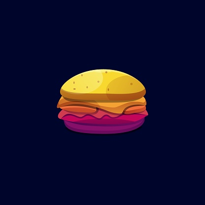 Vector Illustration Burger Gradient Colorful Style.