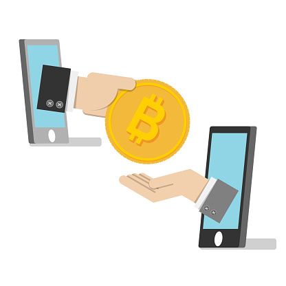 vector illustration. business man hand from smartphone use golden bitcoin for payment . bitcoin electronic money concept
