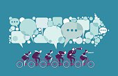 Vector illustration - Business people ride together