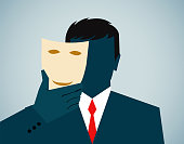Vector illustration, business person, disguise with mask